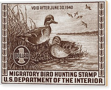 1939 American Bird Hunting Stamp Wood Print by Historic Image