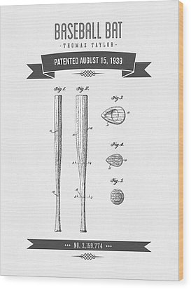 1939 Baseball Bat Patent Drawing Wood Print