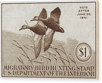 1940 American Bird Hunting Stamp Wood Print by Historic Image