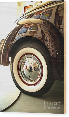 Wood Print featuring the photograph Classic Maroon 1940 Ford Rear Fender And Wheel   by Jerry Cowart