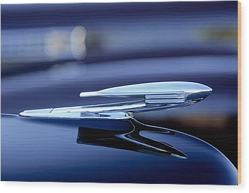 1940 La Salle Hood Ornament Wood Print by Jill Reger