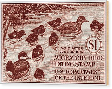 1941 American Bird Hunting Stamp Wood Print by Historic Image