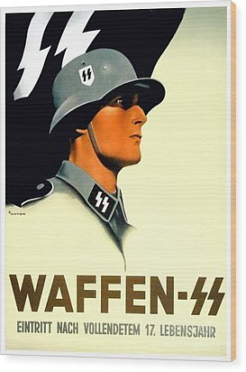 1941 - German Waffen Ss Recruitment Poster - Nazi - Color Wood Print
