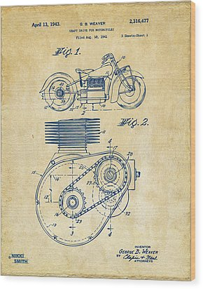 1941 Indian Motorcycle Patent Artwork - Vintage Wood Print by Nikki Marie Smith