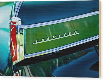 1941 Sudebaker Champion Coupe Emblem Wood Print by Jill Reger