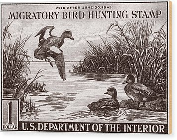1942 American Bird Hunting Stamp Wood Print