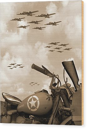 Wood Print featuring the photograph 1942 Indian 841 - B-17 Flying Fortress' by Mike McGlothlen