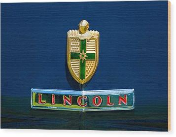 1942 Lincoln Continental Cabriolet Emblem Wood Print by Jill Reger