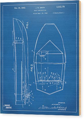 1943 Chris Craft Boat Patent Blueprint Wood Print by Nikki Marie Smith