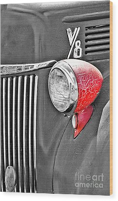 1944 Ford Pickup - Headlight - Sc Wood Print by Mary Carol Story