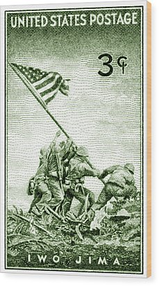 1945 Marines On Iwo Jima Stamp Wood Print by Historic Image