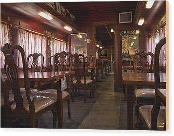 1947 Pullman Railroad Car Dining Room Wood Print by Thomas Woolworth