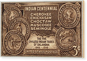 1948 Oklahoma Indian Centennial Stamp  Wood Print by Historic Image