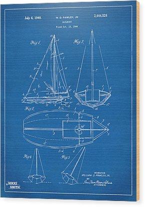 1948 Sailboat Patent Artwork - Blueprint Wood Print by Nikki Marie Smith
