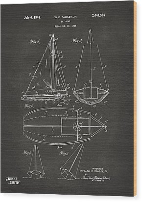 1948 Sailboat Patent Artwork - Gray Wood Print by Nikki Marie Smith
