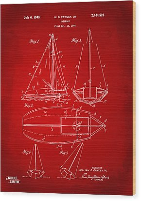 1948 Sailboat Patent Artwork - Red Wood Print by Nikki Marie Smith