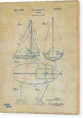 1948 Sailboat Patent Artwork - Vintage Wood Print by Nikki Marie Smith