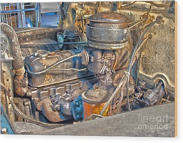 1949 Chevy Truck Engine Wood Print by D Wallace