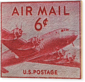 1949 Dc-4 Skymaster Air Mail Stamp Wood Print by Bill Owen