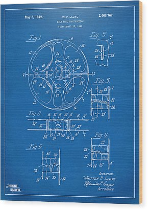 1949 Movie Film Reel Patent Artwork - Blueprint Wood Print by Nikki Marie Smith