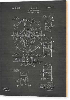 1949 Movie Film Reel Patent Artwork - Gray Wood Print by Nikki Marie Smith