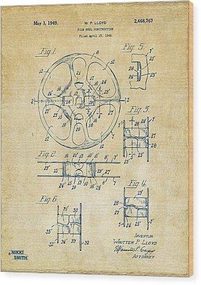 1949 Movie Film Reel Patent Artwork - Vintage Wood Print by Nikki Marie Smith