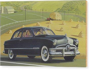 1950 Custom Ford Rustic Rural Country Farm Scene Americana Antique Car Watercolor Painting Wood Print by Walt Curlee