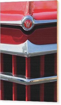1950 Willys Overland Jeepster Hood Emblem Wood Print by Jill Reger