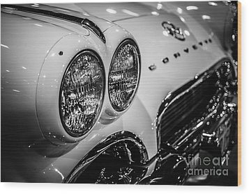 1950's Chevrolet Corvette C1 In Black And White Wood Print by Paul Velgos