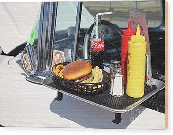 1950's Drive In Movie Snack Tray Wood Print