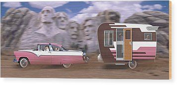 1950s Family Vacation Panoramic Wood Print by Mike McGlothlen