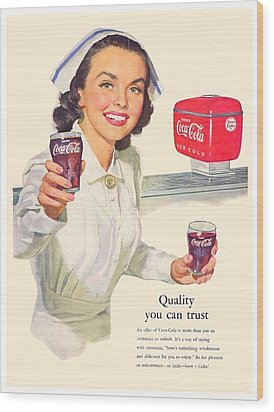 1952 - Coca-cola Advertisement - Color Wood Print