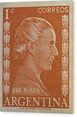 1952 Eva Peron Argentina Stamp Wood Print by Bill Owen