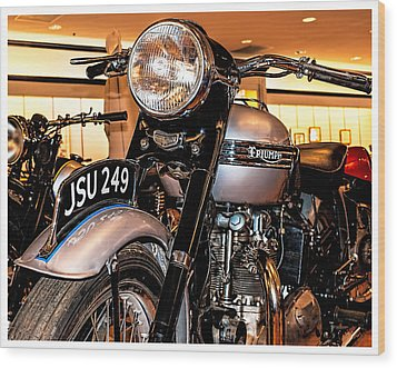 Wood Print featuring the photograph 1952 Triumph Tiger 100 by Steve Benefiel