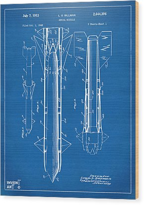 1953 Aerial Missile Patent Blueprint Wood Print by Nikki Marie Smith