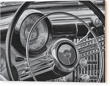 1953 Buick Super Dashboard And Steering Wheel Bw Wood Print by Jerry Fornarotto