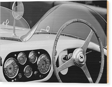 1953 Ferrari 340 Mm Lemans Spyder Steering Wheel Emblem Wood Print by Jill Reger