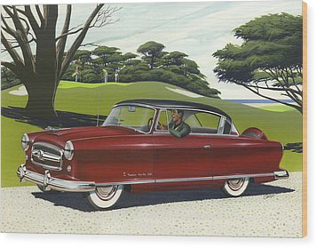 1953 Nash Rambler Car Americana Rustic Rural Country Auto Antique Painting Red Golf Wood Print by Walt Curlee