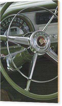 1953 Pontiac Steering Wheel Wood Print by Jill Reger