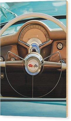 1954 Chevrolet Corvette Convertible  Steering Wheel Wood Print by Jill Reger