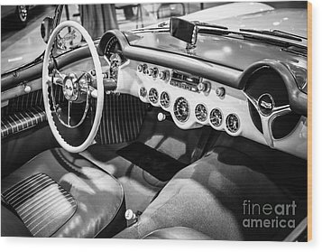 1954 Chevrolet Corvette Interior Black And White Picture Wood Print by Paul Velgos