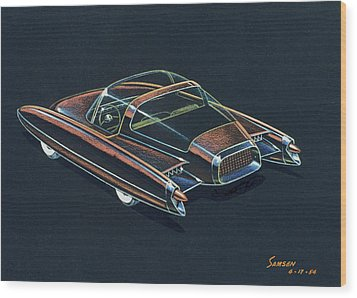 1954  Ford Cougar Experimental Car Concept Design Concept Sketch Wood Print by John Samsen