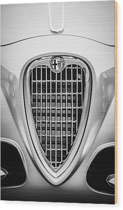 1955 Alfa Romeo 1900 Css Ghia Aigle Cabriolet Grille Emblem -0564bw Wood Print by Jill Reger
