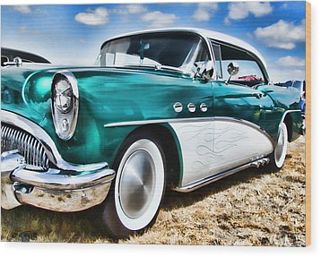 1955 Buick Wood Print by Ron Roberts