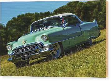 1955 Cadillac Coupe De Ville Wood Print by motography aka Phil Clark