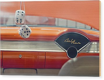 1955 Chevrolet Belair Dashboard Wood Print by Jill Reger