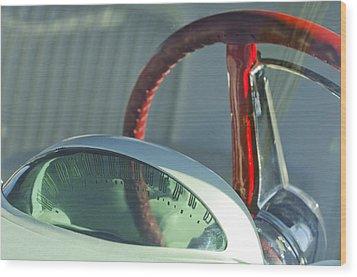 1955 Ford Thunderbird Steering Wheel Wood Print by Jill Reger