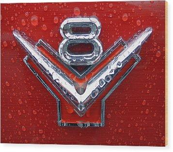 1955 Ford V8 Emblem Wood Print