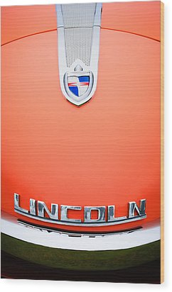 1955 Lincoln Indianapolis Boano Coupe Emblem Wood Print by Jill Reger