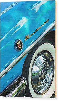 1955 Mercury Monterey Wheel Emblem Wood Print by Jill Reger